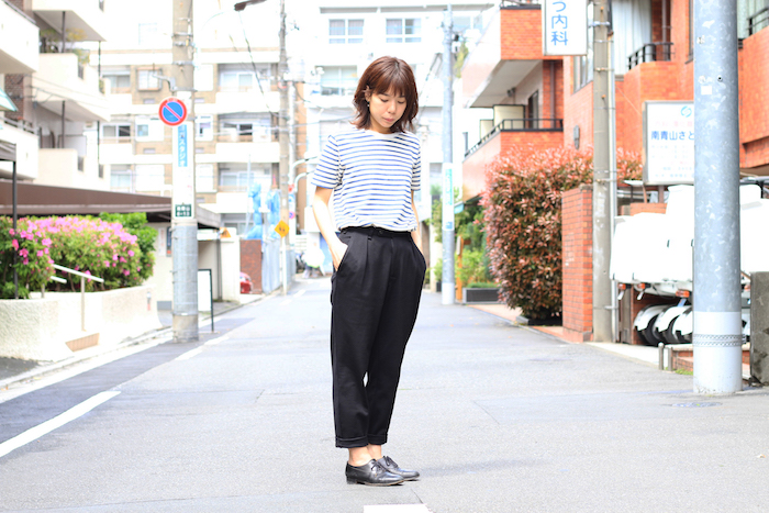 BRACE WIDE TROUSERS × BRUSH BORDER SS TEE